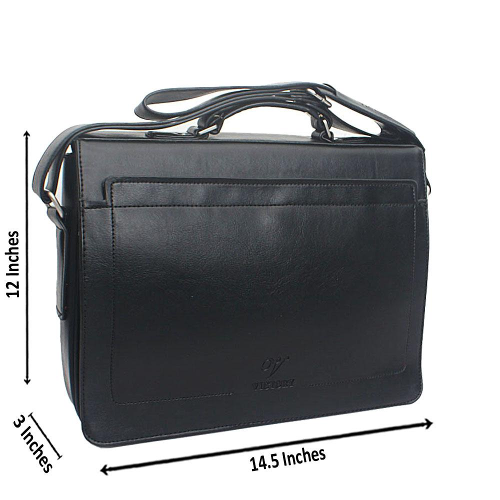Black Flip Leather Messenger Bag