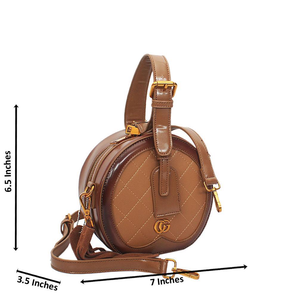 Brown Liliana Round Leather Mini Top Handle Handbag