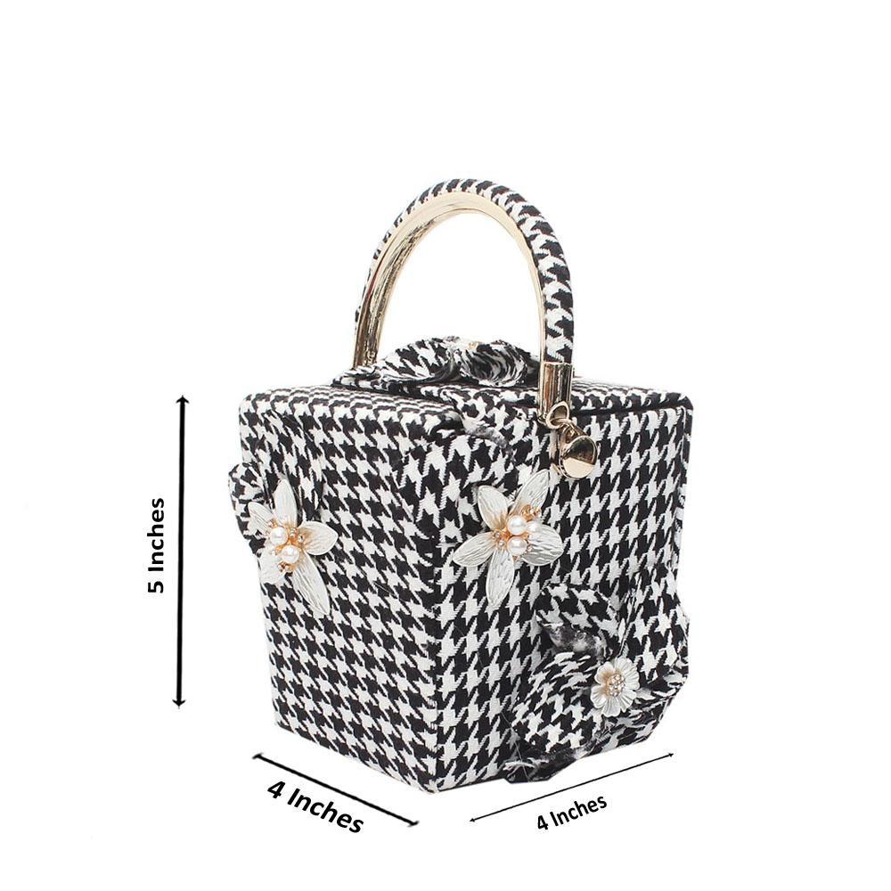 White Black Fabric Checked Mini Handbag