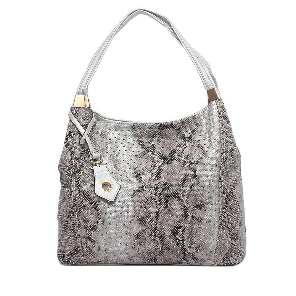 London Style Prima D Rose Silver Studded Leather Shoulder Bag