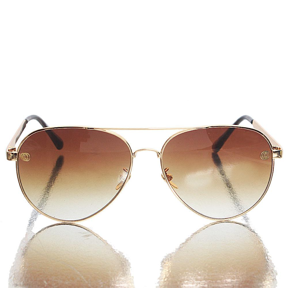 Gold Black Brown Lens Aviator Sunglasses