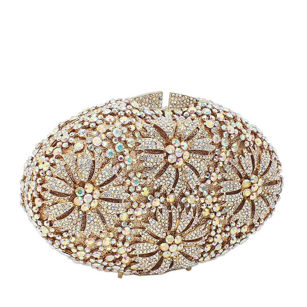 Gold Sliver Mix 4-Petals Diamante Crystals Clutch Purse