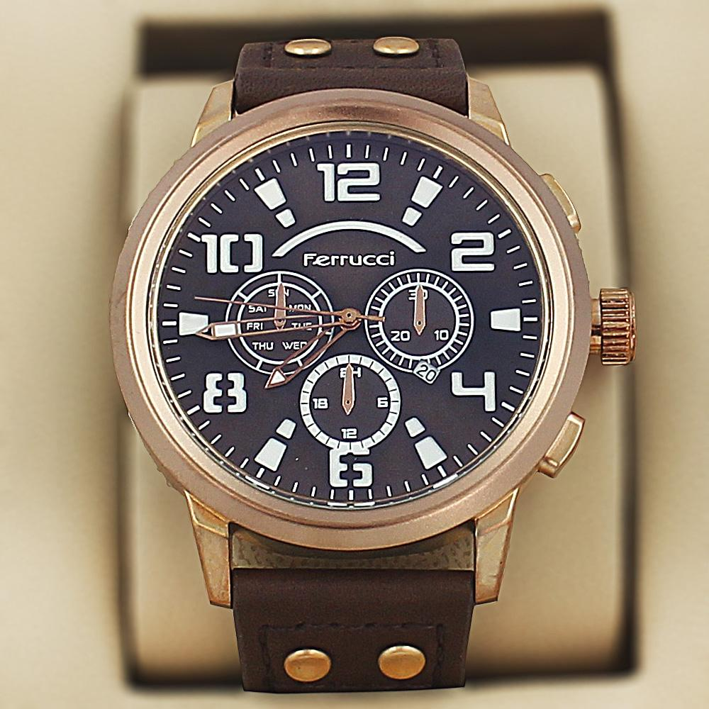 Ferrucci Faust Coffee Brown Leather Sport Series Watch