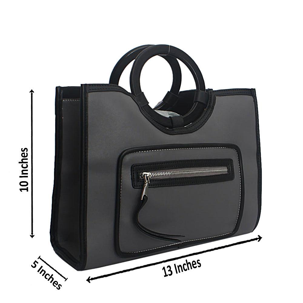 Grey Black Wooden Leather Top Handle Handbag