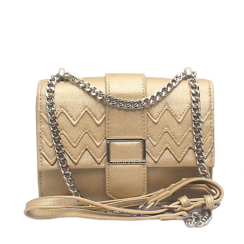 London Style Gold Leather Mini Cross Body Bag