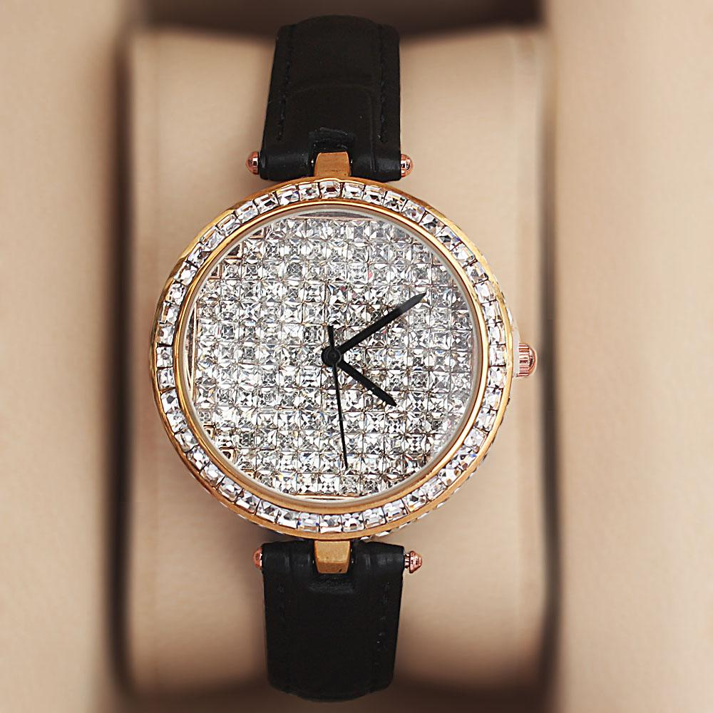 Gold Black Crystal Ice Studded Leather Ladies Watch