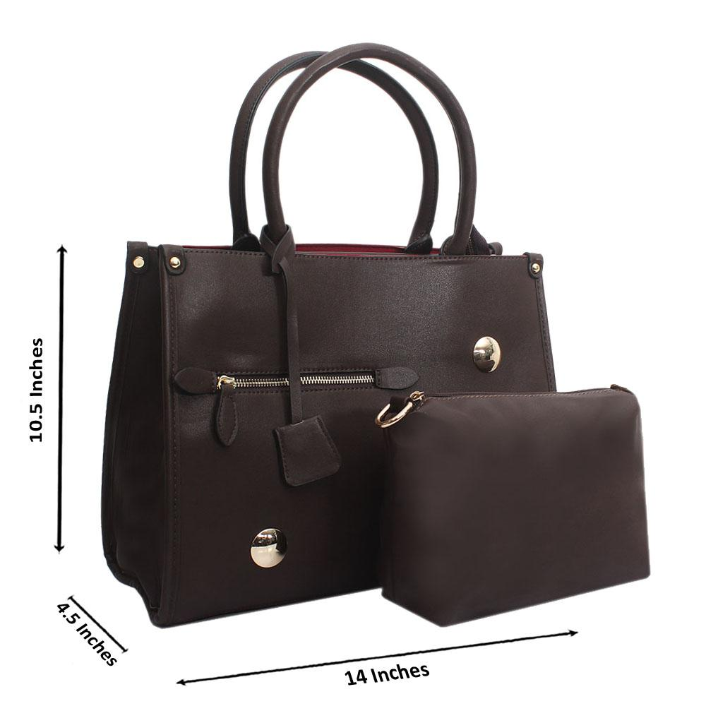 Coffee Leather Medium Norah Handbag