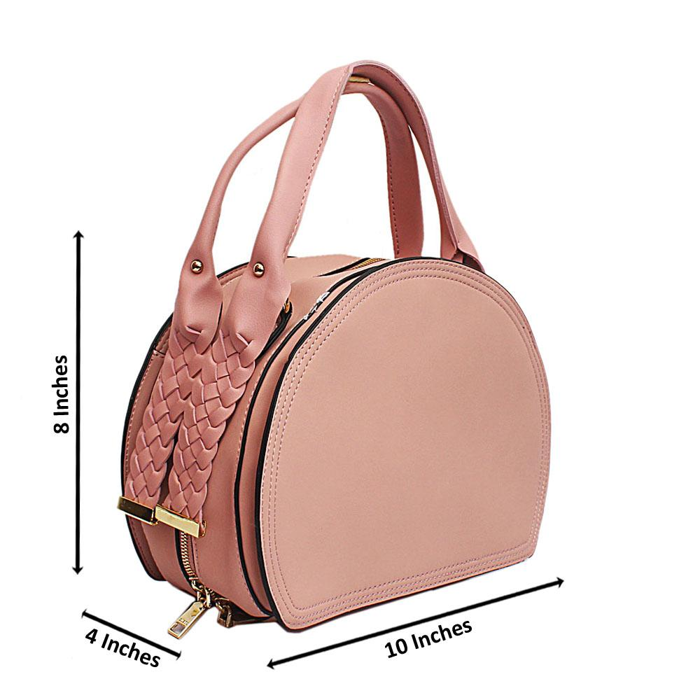 Susen Pink Woven Handle Leather Handbag