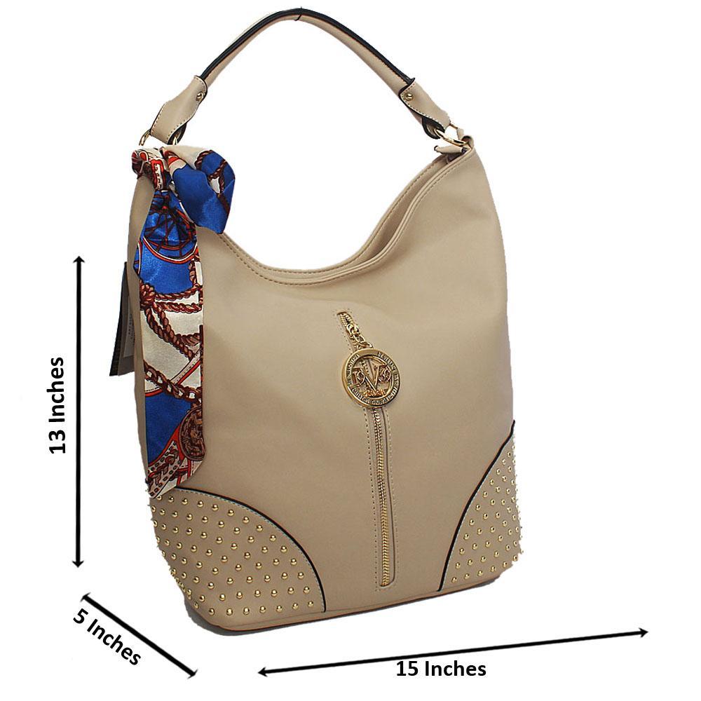 Cream Elegant Studded Leather Shoulder Bag