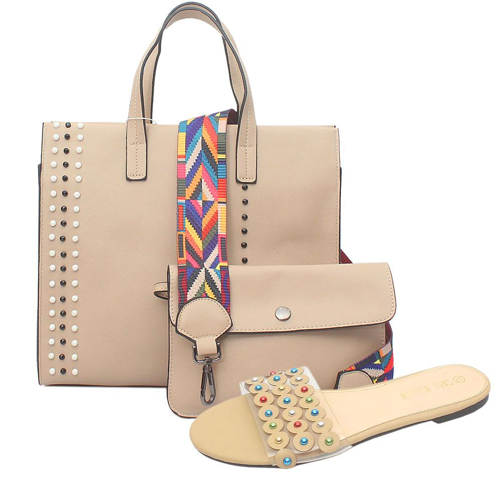 Beige Studded Leather Tote Bag