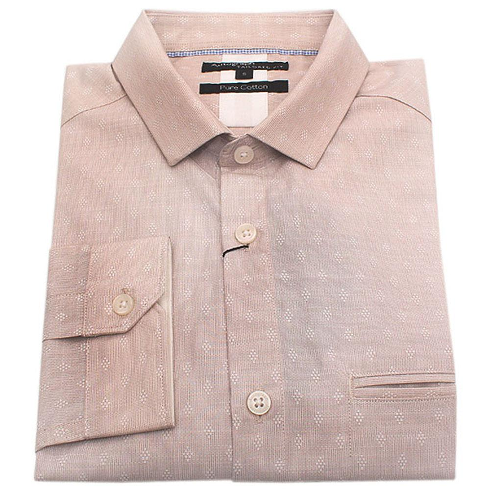 Autograph Beige Pure Cotton Tailored Fit L/Sleeve Men Shirt