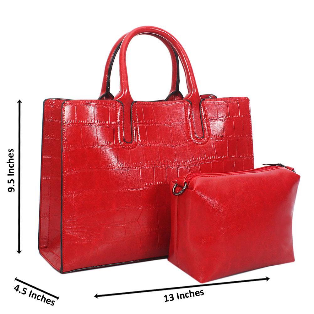 Red Alice Croc Leather Tote Handbag