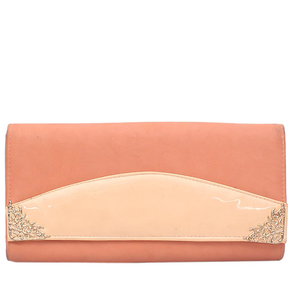 Fashion Peach Gold Leather Flat Clutch Wt Minor Stain