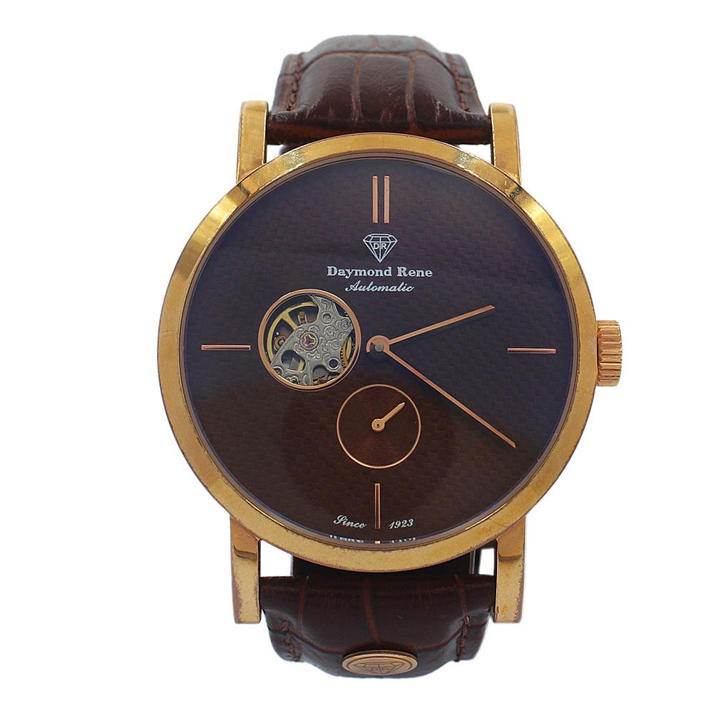 DR 3ATM Rose Gold Brown Leather Classic Automatic Watch