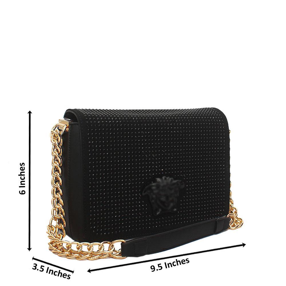 Black Ice Studded Leather Chain Crossbody Handbag
