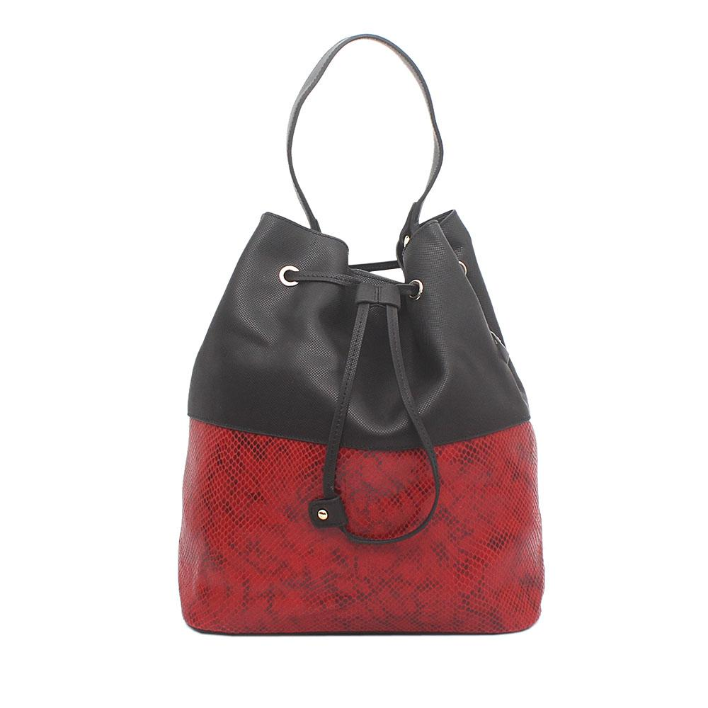 Prima D Rose Black Red Leather Handbag