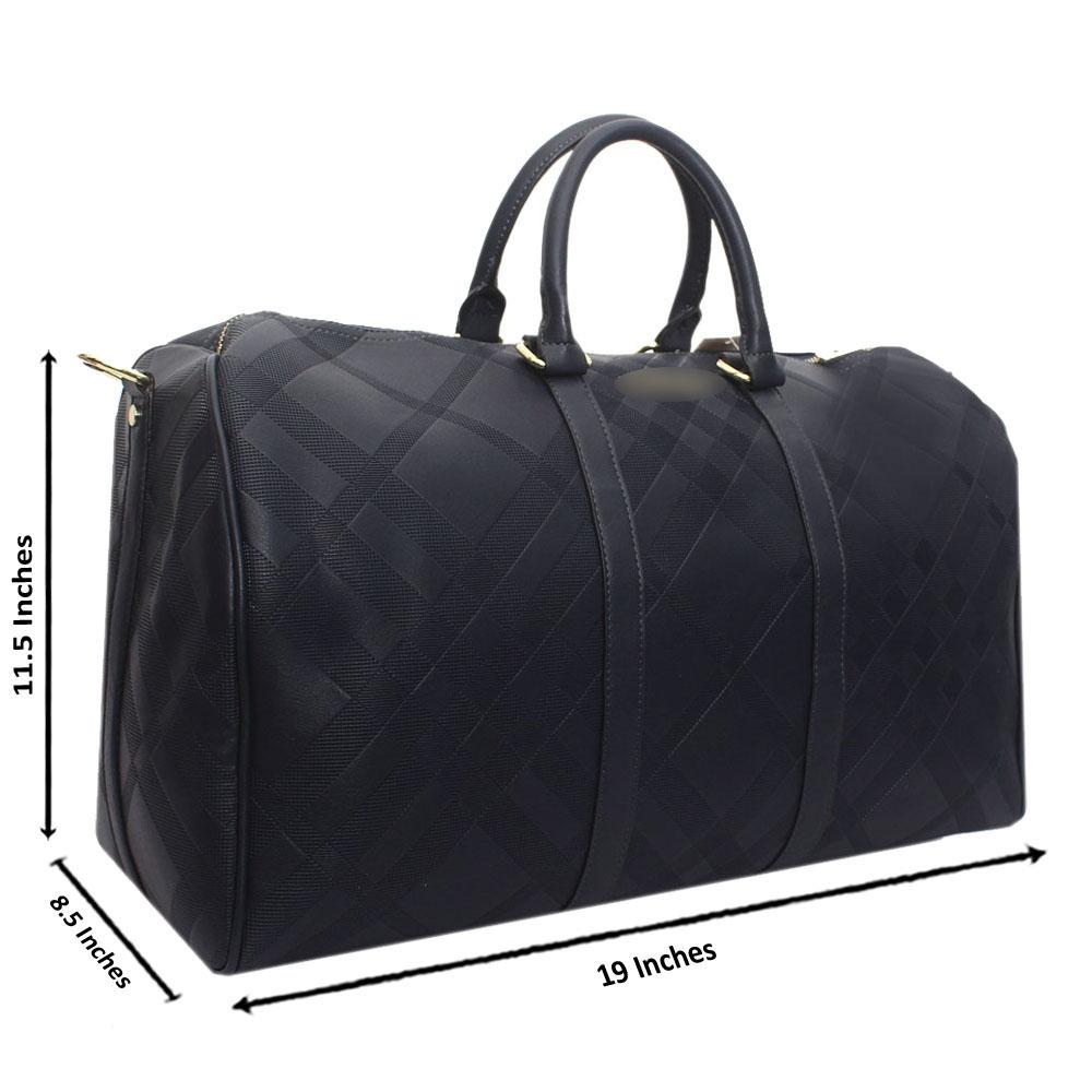 Navy Check Leather Large Boston Bag