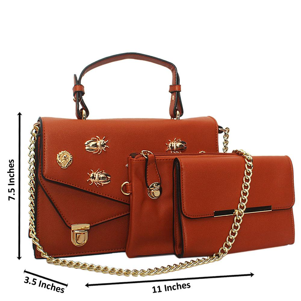 Brown Gold Plated Leather Chain Top Handle Handbag