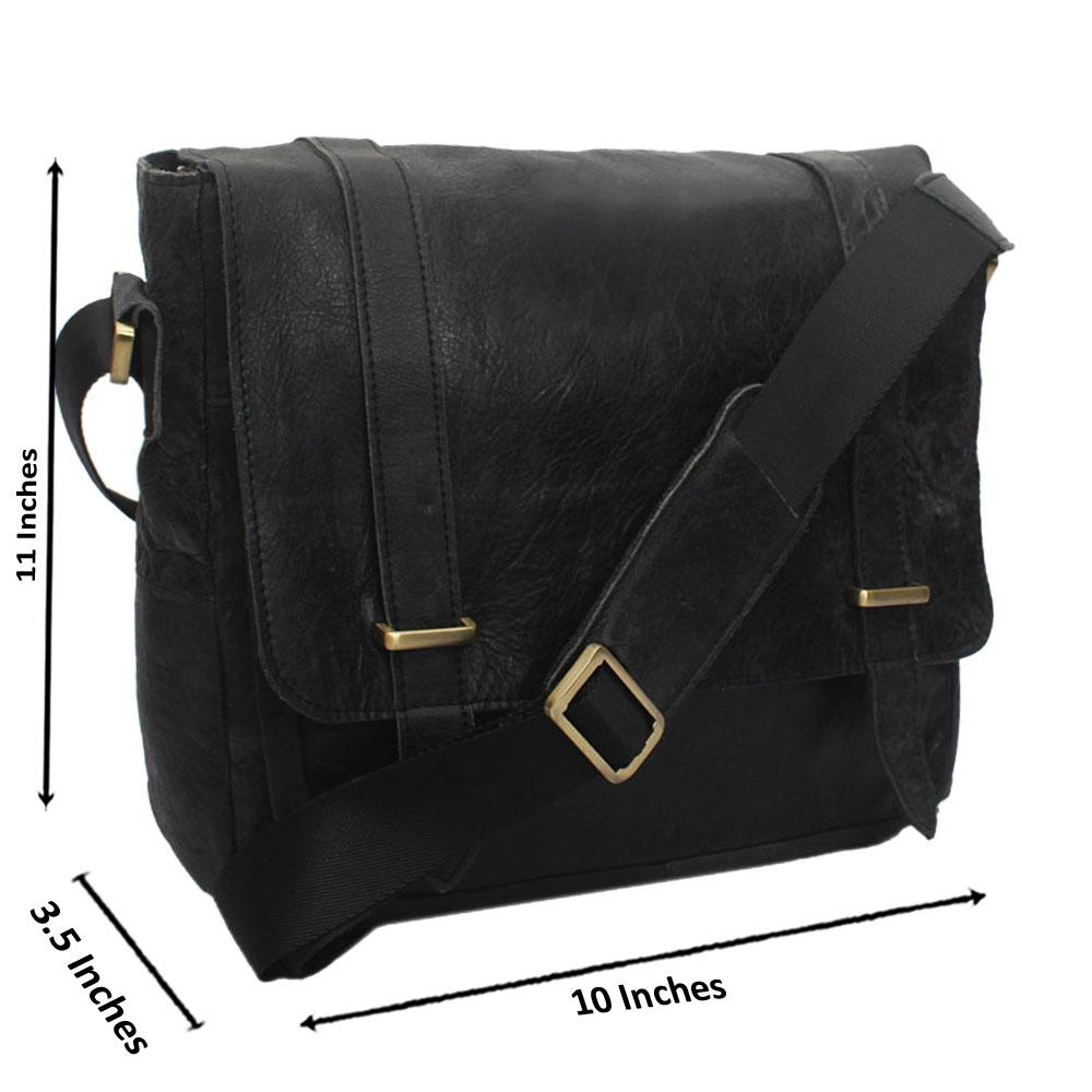 Black Kaza Leather Messenger Bag