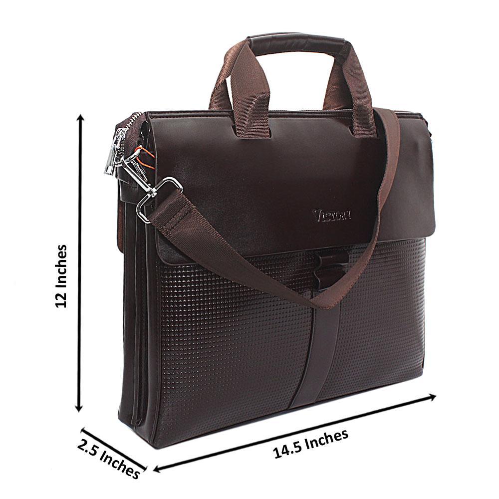 Coffee Brown Leather Man Bag