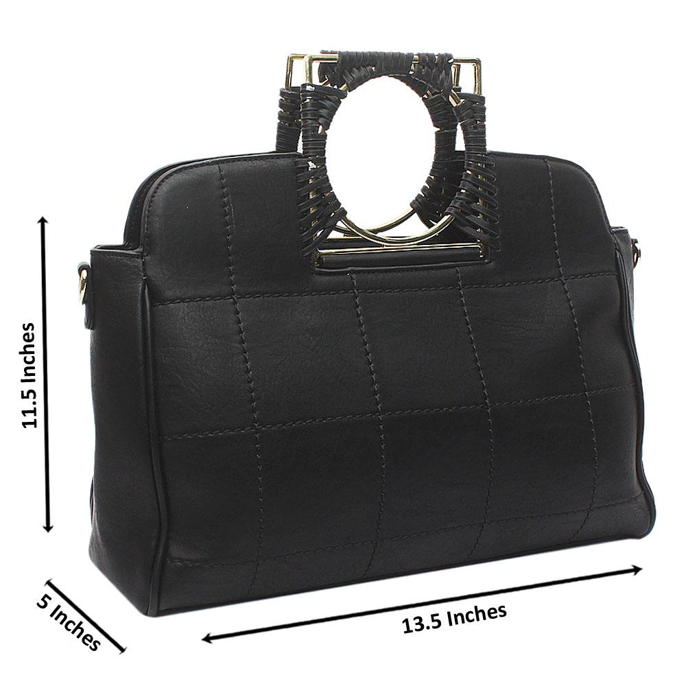 Black Susen Medium Leather Handbag