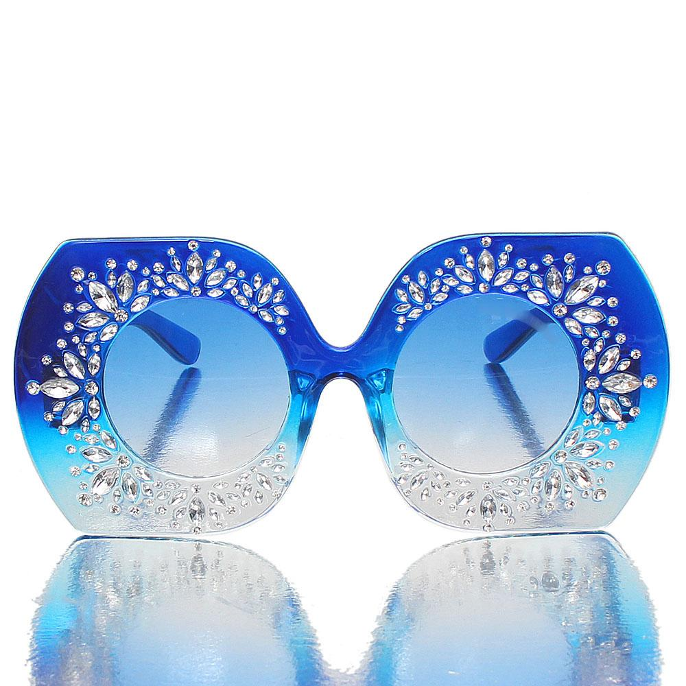 Blue Studded Oversized Sunglasses