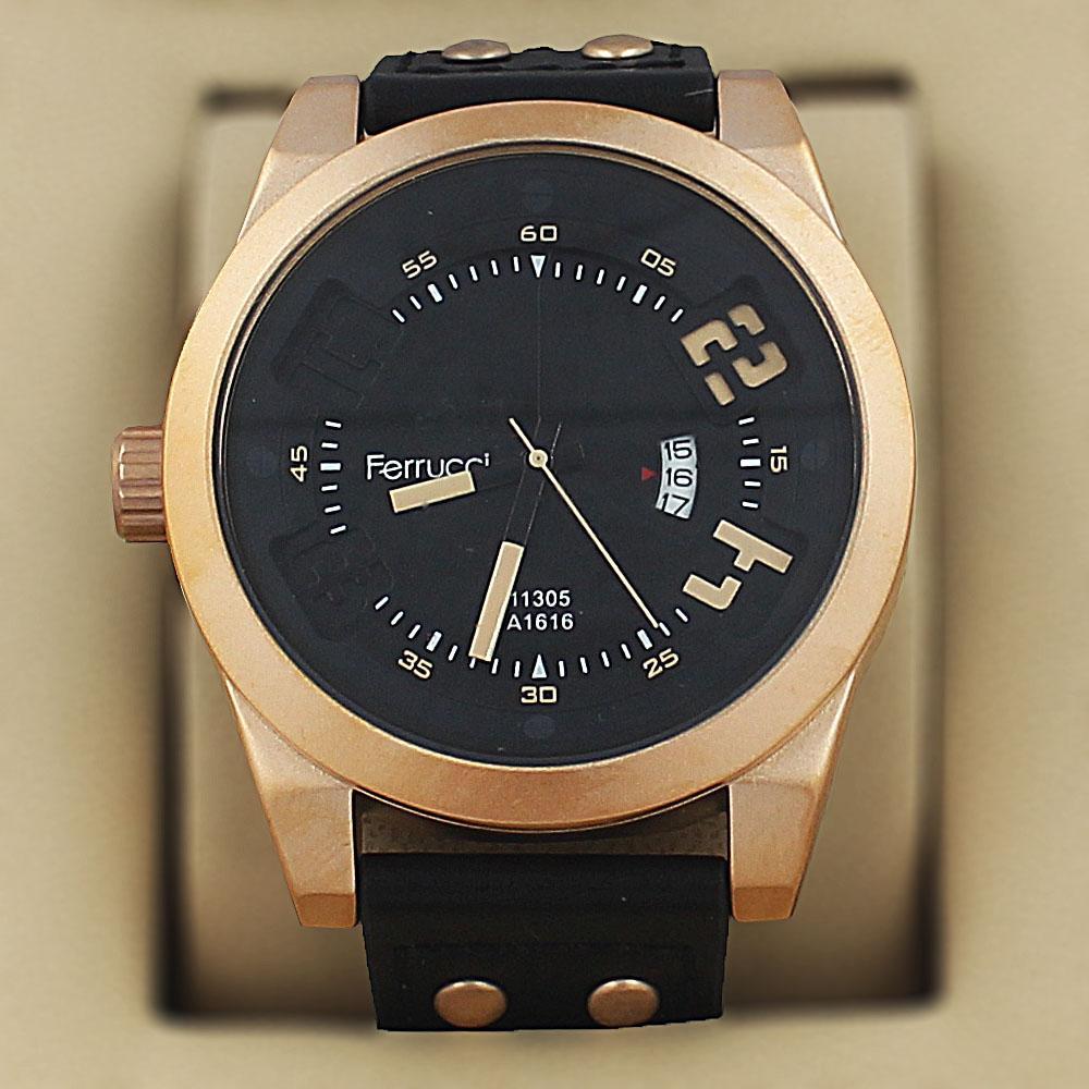 Ferrucci Olympus Black Leather Fashion Series Watch
