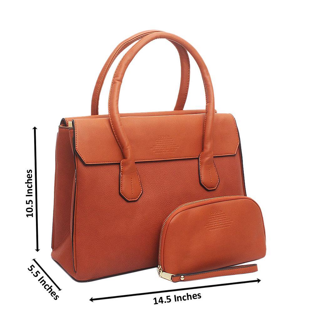 Susen Brown Leather Handbag Wt Purse