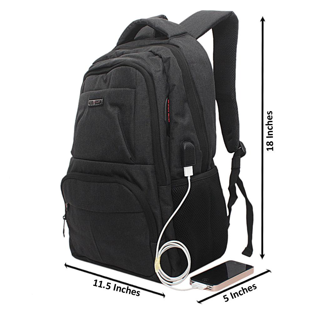 Black Multi Zip Bruno Cavali Backpack wt USB Connector