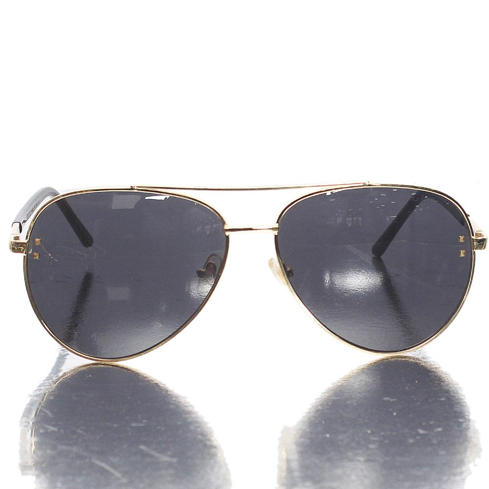 Gold Brown Black Aviator Sunglasses