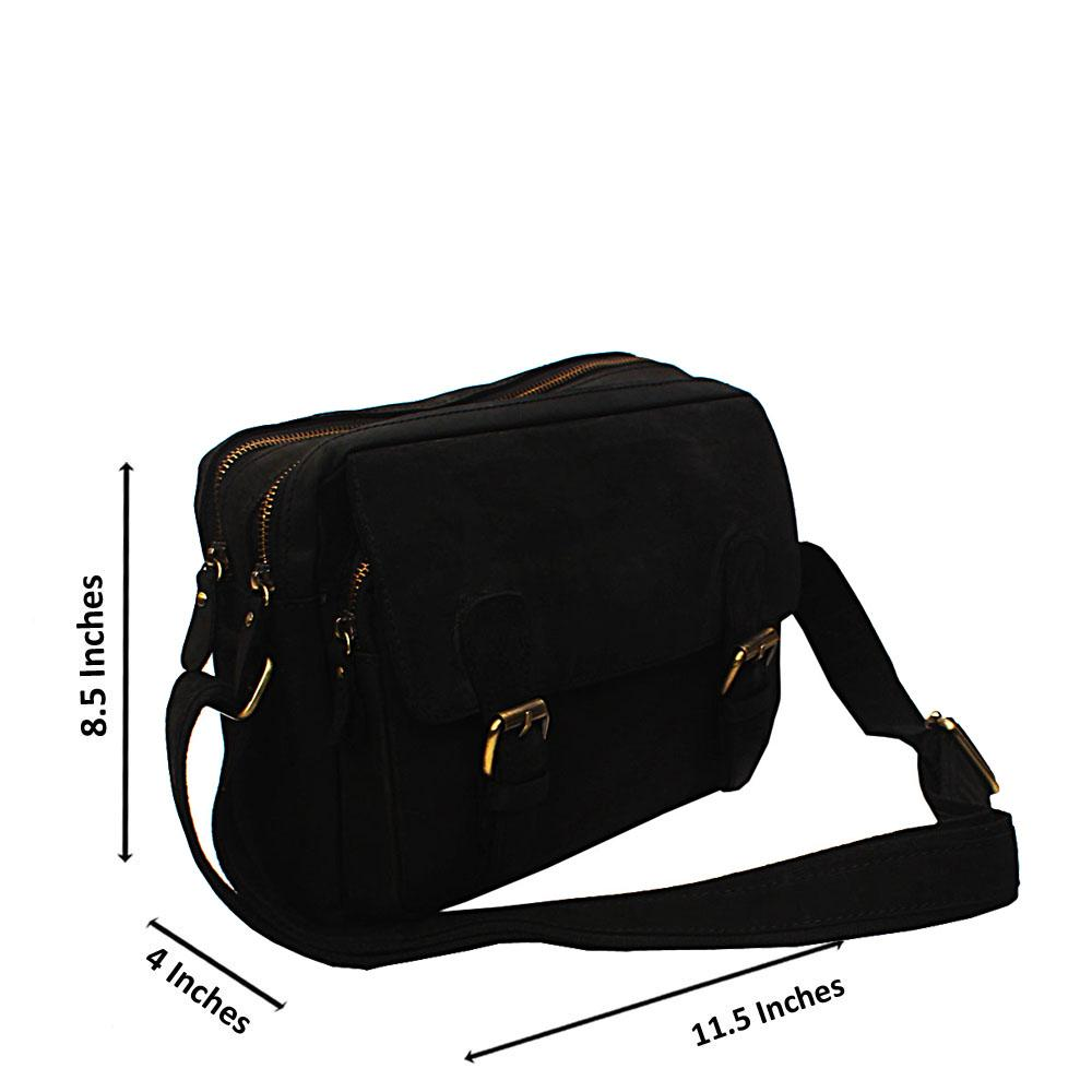Black Multi Zip Modern Side Bag