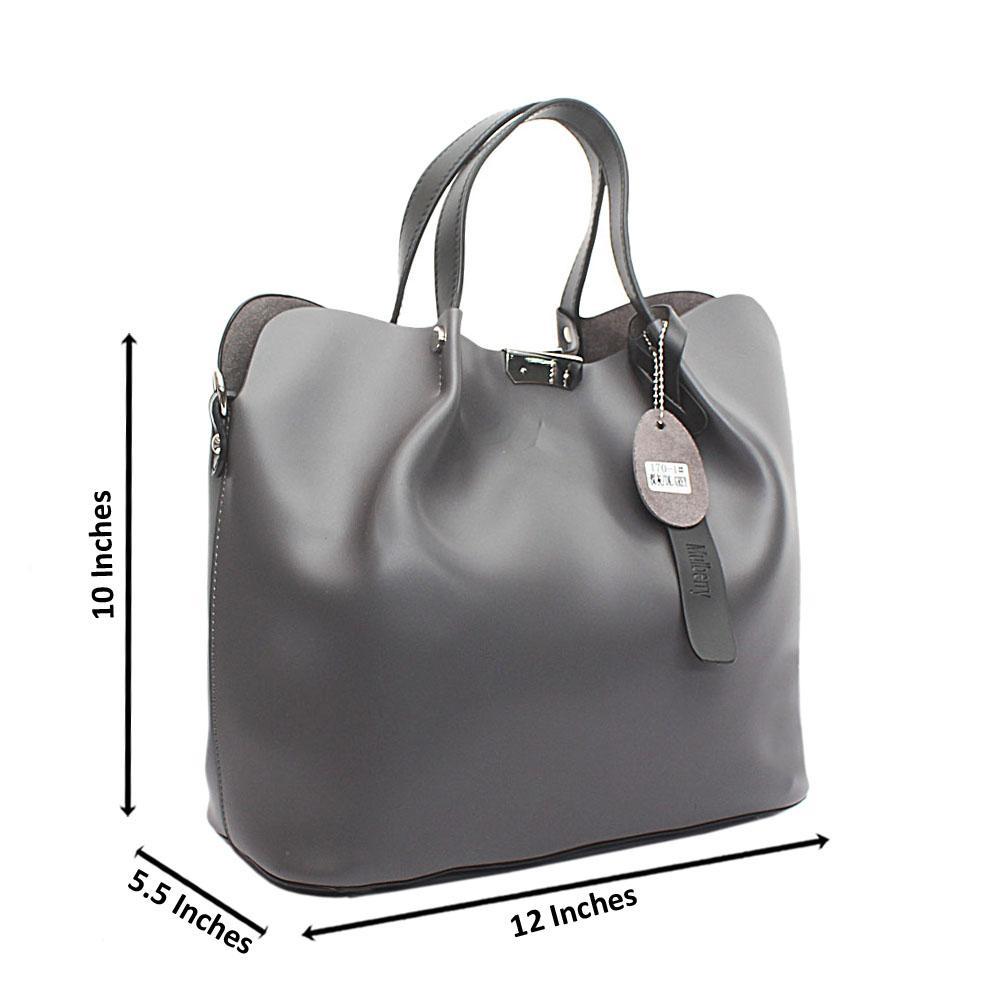 Gray Leather Tote Handbag