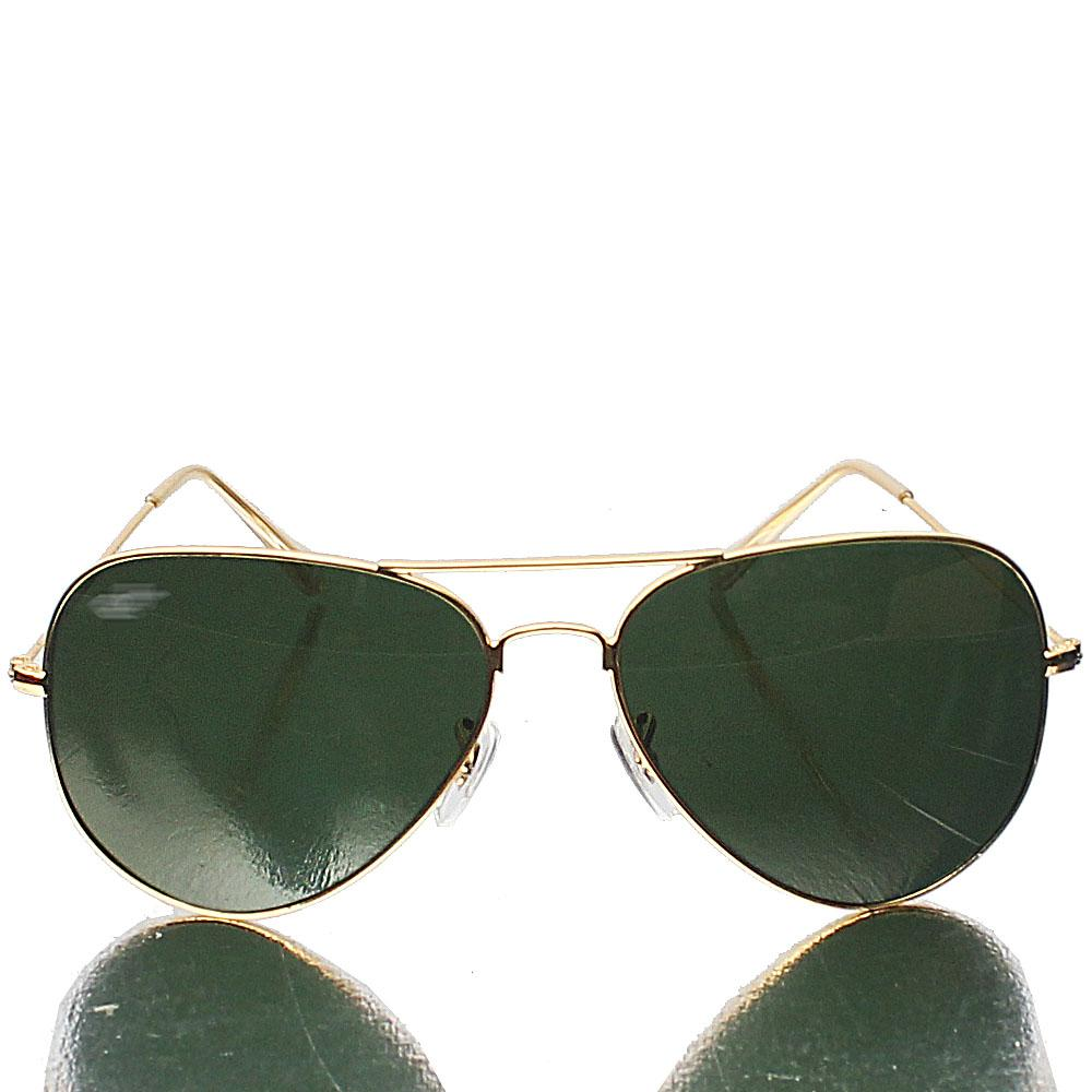 Gold Aviator Pro Green Lens Sunglasses