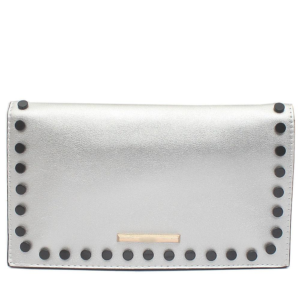 Silver Studded Leather Flat Clutch