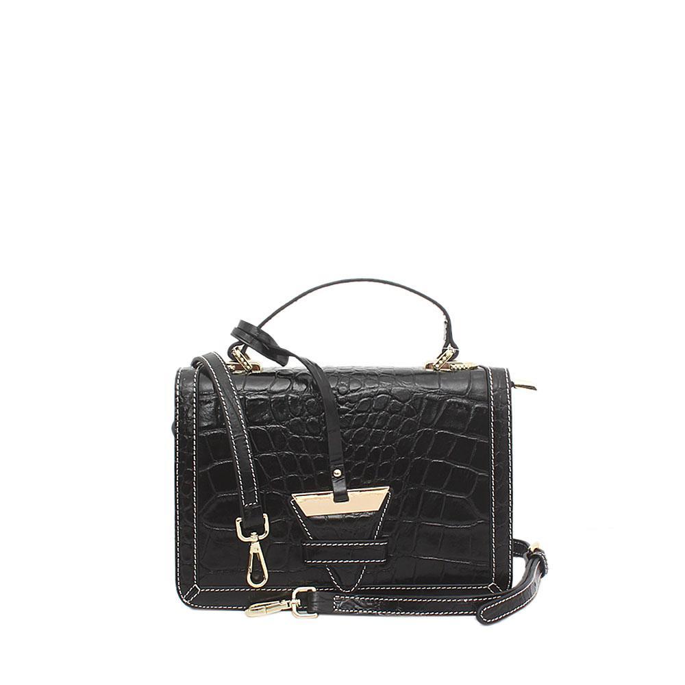 London Style Black Croc Saffiano Leather Small Handle Bag