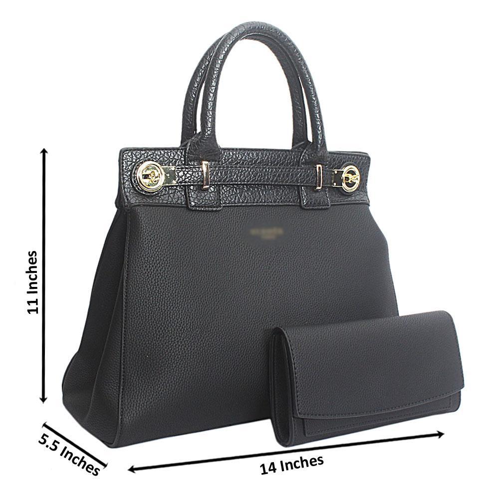 Black Leather Birkin Style Medium Handbag