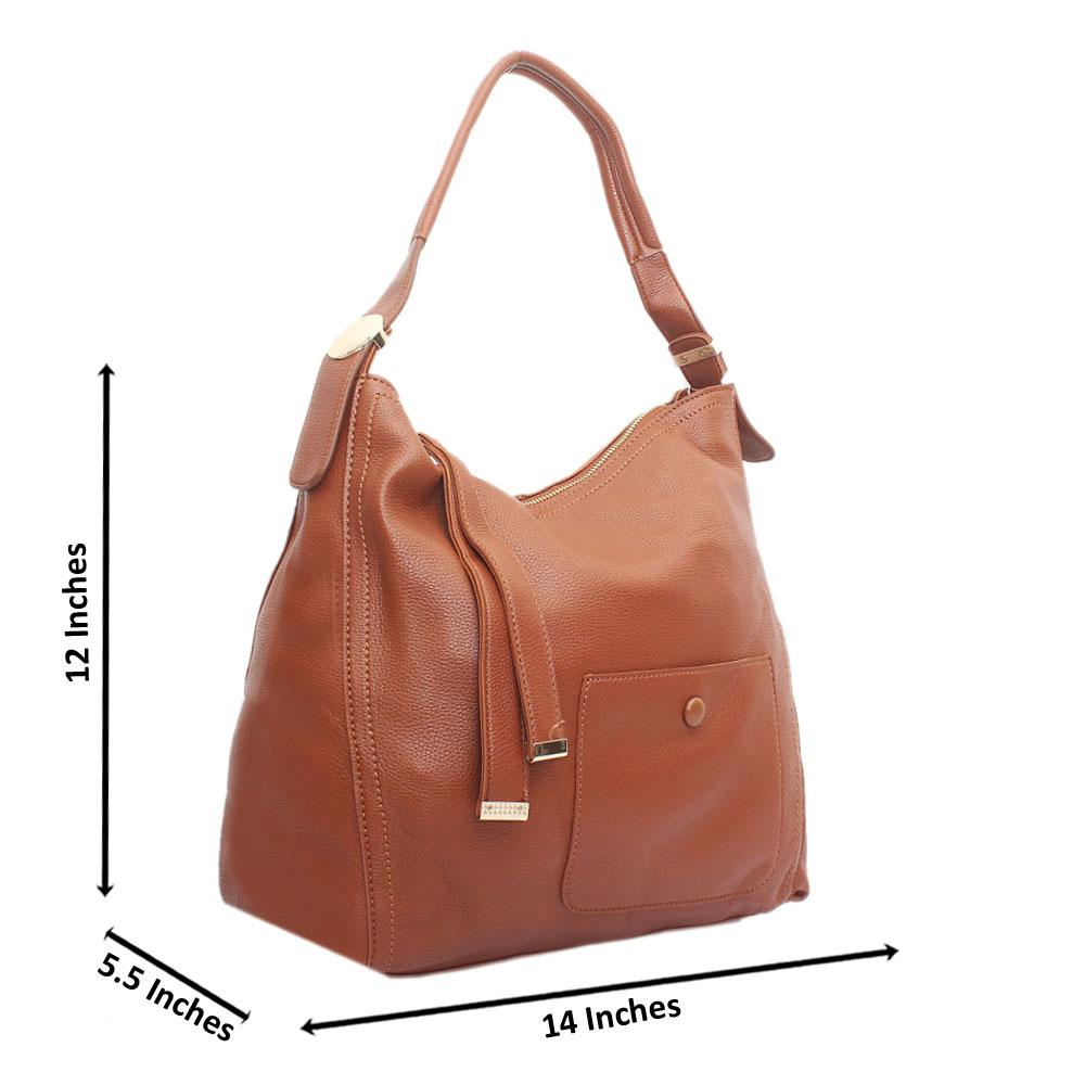 Brown Blossom Leather Handbag