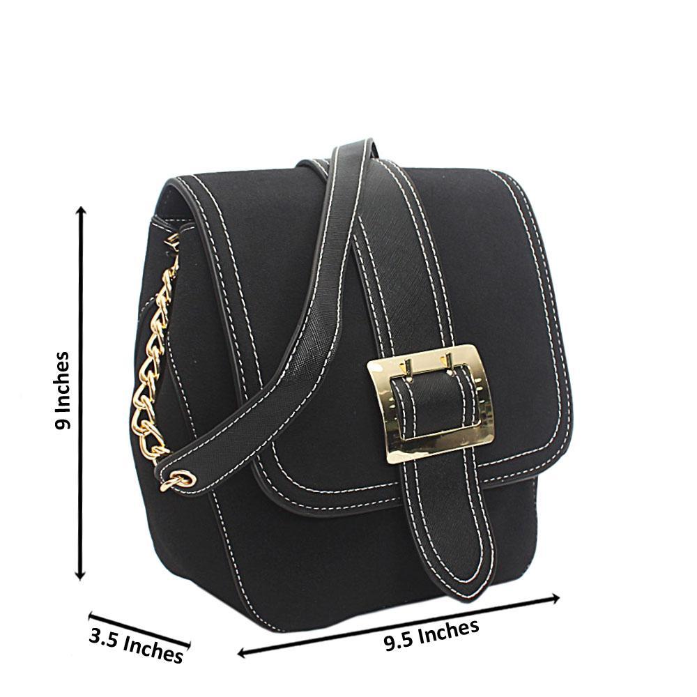 Black Suede Leather Single Handle Bag