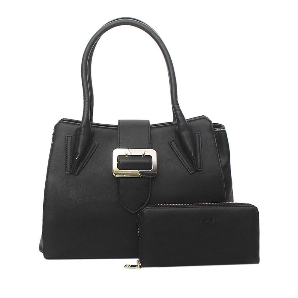 Susen Black Leather Tote Bag Wt Purse