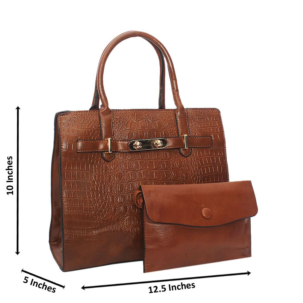 Brown Scarlett Croc Leather Tote Handbag