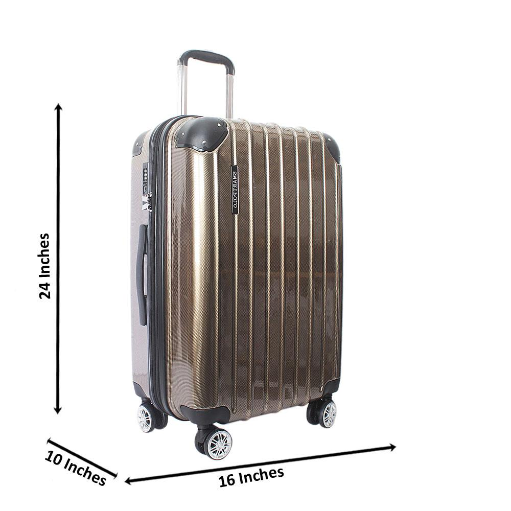 Brown 24 Inch Hardshell Medium Suitcase Wt TSA Lock
