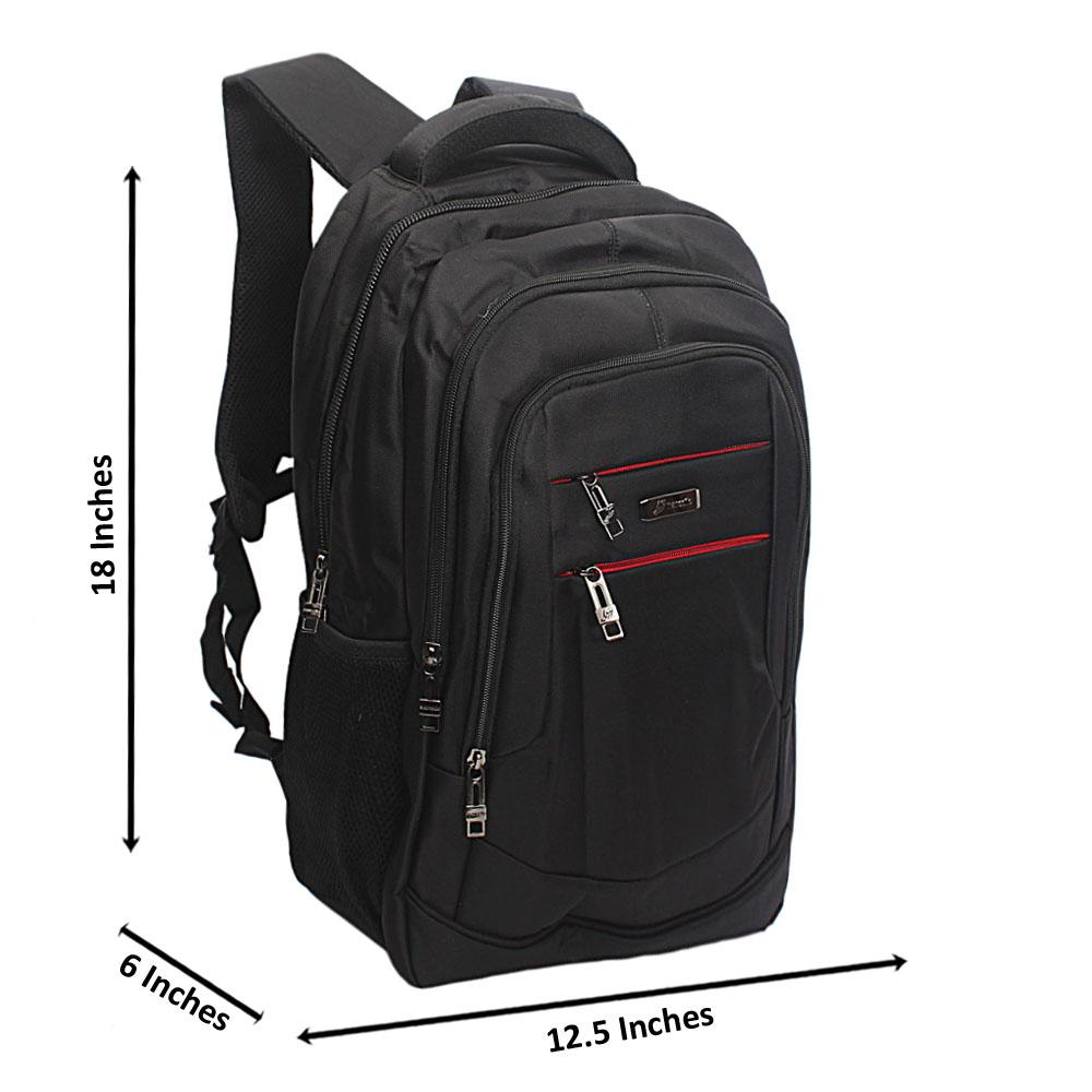 Black Lateral Double Zip Backpack