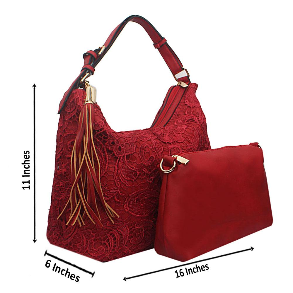 Red Floral Fabric Single Handle Leather Bag