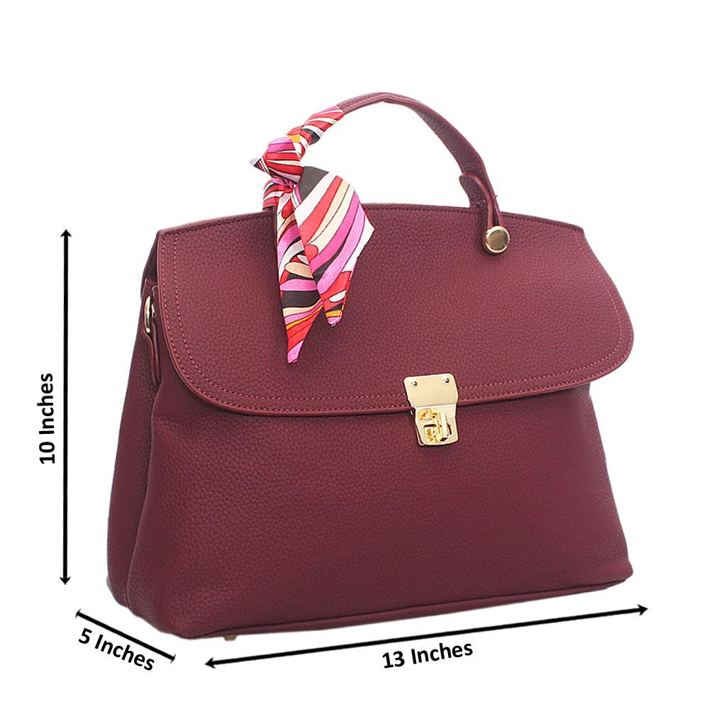 Purple Leather Medium Top Handle Handbag