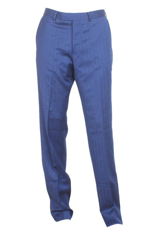 M & S Blue Cotton Tailored Fit Men Pant