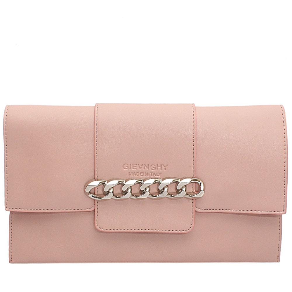 Pink Chain Design Leather Flat Purse