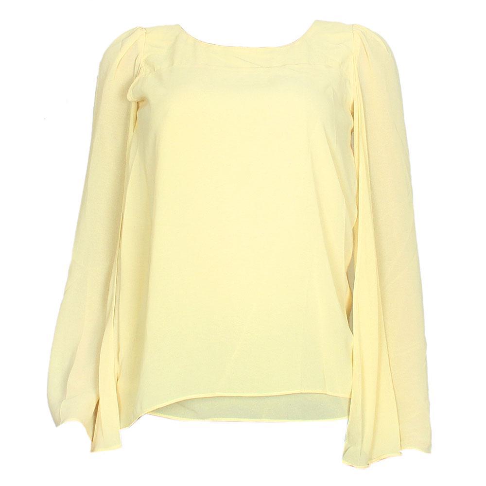 Yellow Chiffon Sleeveless Ladies Top
