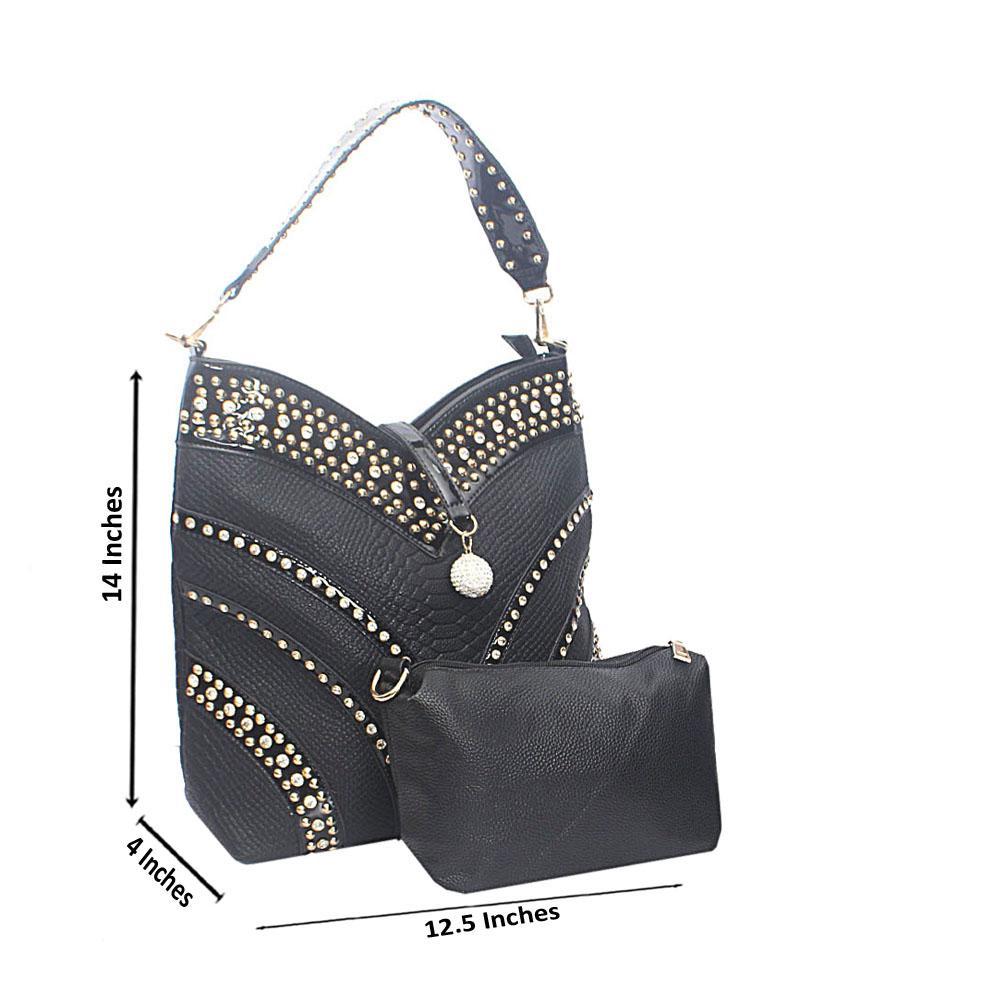 Black Marshymallow Studded Tandy Leather Shoulder Bag