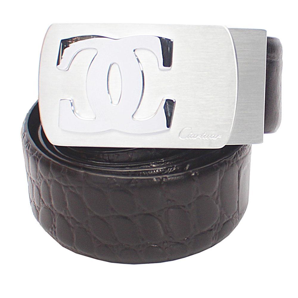 Black Croc Leather Belt L44
