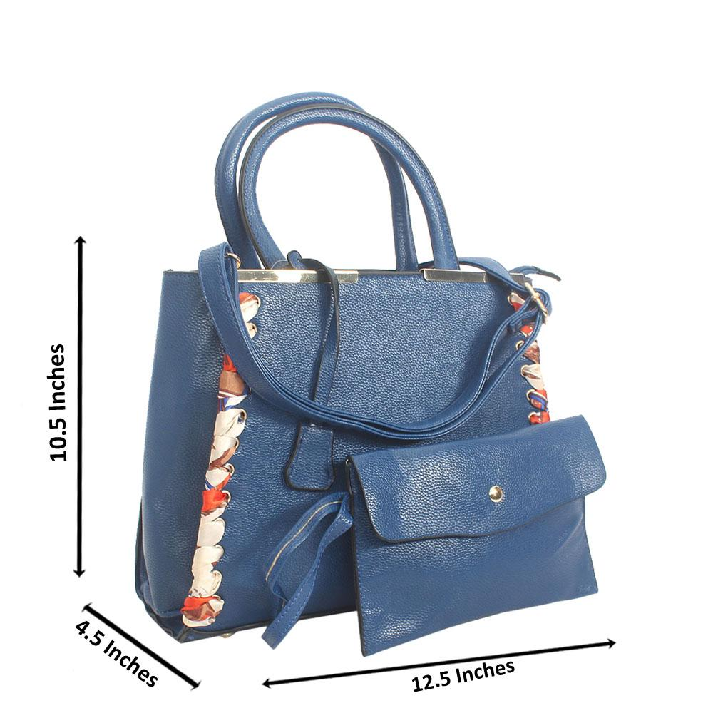 Blue Tuscany Leather Tote Handbag